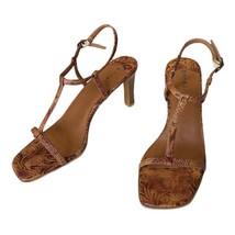 "Nwb Bamboo Brown Leather Heeled ""Vonda"" Sandal Size 7.5 - $34.65"