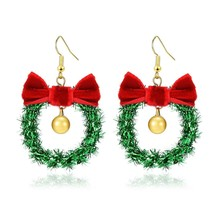 Handmade Christmas Ornament Wreath Earrings,Lightweight Christmas Red Bo... - $13.29