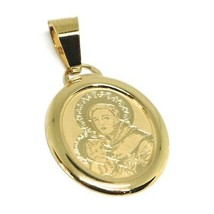 Pendant Medal Yellow Gold 750 18k, Saint Antonio da Padova, Jesus Child - $120.97