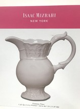 New! Isaac Mizrahi Chateau Fleur White Ceramic Pitcher - $45.99