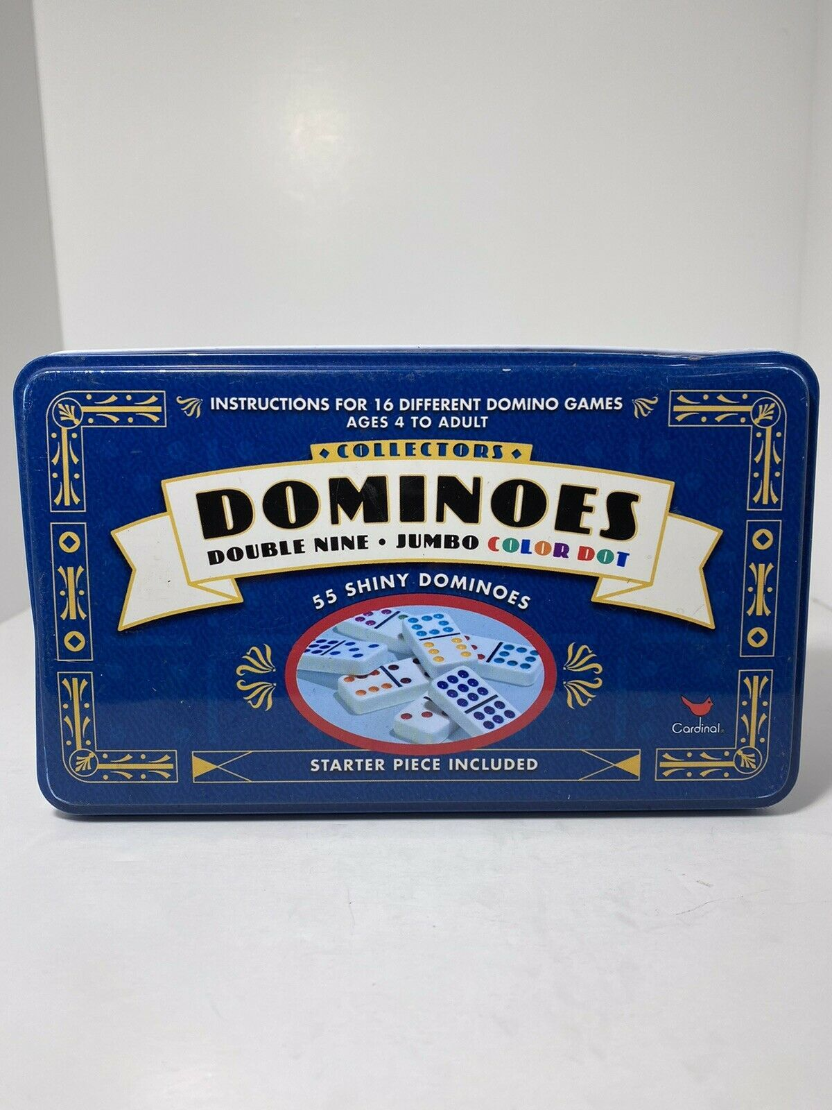 Cardinal Double 9 Color Dot Dominoes in Collectors Tin - 55 Pieces - $14.99