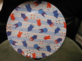 """Round Melamine Plate Dish 11"""" - Bathing Suits & Buoys With Striped Backg... - $7.87"""