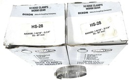 """LOT OF 18 NEW DIXON HS-28 HOSE CLAMPS WORM GEAR 1-5/16"""" - 2-1/4"""", 33 - 57 MM"""