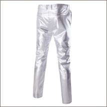 Men's Casual Silver Stage Performers PU Leather Front Zip Straight Slim Trousers image 2