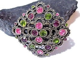 VINTAGE LARGE GLASS SARAH COVENTRY PIN RHINESTONES GREENS PINKS PRETTY D... - $19.00