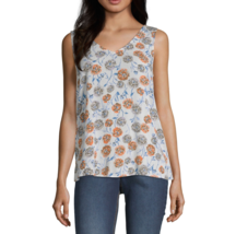 a.n.a V Neck Sleeveless Tank Top Size PL New Harper Floral Ivory - $12.99