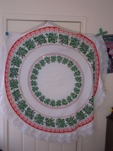 Vintage holiday Circle christmas tablecloth mistletoe - $64.35