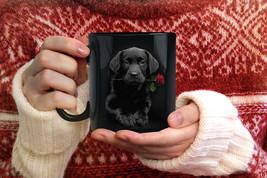 Black Dog And Rose Funny  Travel Coffee Tea Mug - $17.75