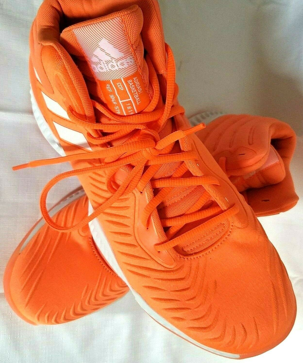 adidas SM Mad Bounce Mens 12.5 D97371 Basketball Shoes Orange & White 2018 image 3