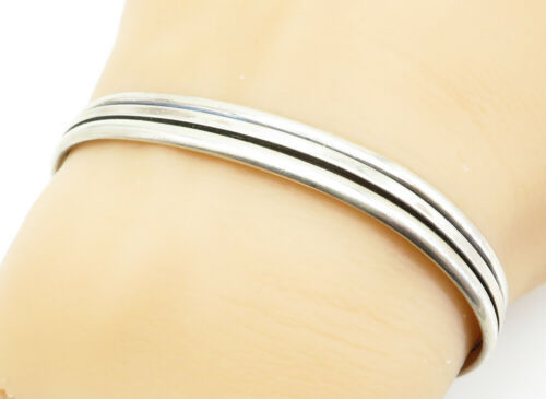 NAVAJO 925 Silver - Vintage Ribbed Design Shiny Smooth Cuff Bracelet - B6104