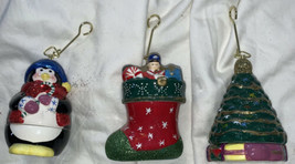 Mr. Christmas Porcelain Wind Up Animated Music Box Tree Ornaments 3 For You - $29.08