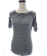 Max Studio Light Blue and Gray Ruched Knit Top Size XS Extra Small - $16.00
