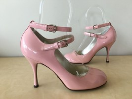 DOLCE & GABBANA PINK ANKLE STRAP PATENT LEATHER PUMP HEEL SHOES 37 US 6.... - $139.89