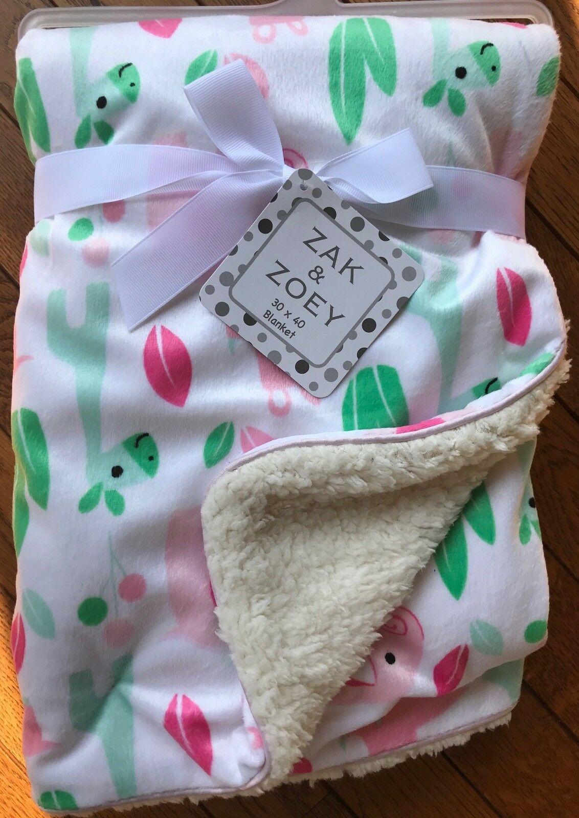Nwt Zak Amp Zoey White Green Pink Giraffe Reversible Baby