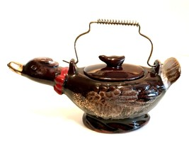 Antique Japan Duck Sugar Bowl Brown Glazed Red Ware 7.25 inches Wire Handle - $19.79