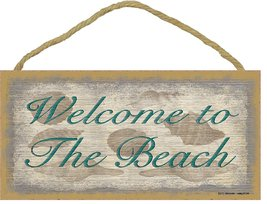 """Welcome to the Beach Sign with Seashells Plaque Nautical Decor 5""""x10"""" - $12.86"""