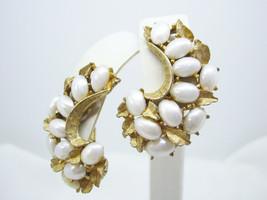 BSK Faux PEARL Brushed Gold Plate HUGGIE Clip on Earrings Leaf B.S.K. Vi... - $17.81