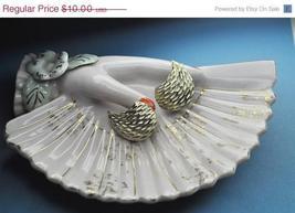 Vintage BSK Silver Teardrop Clip Earrings, Highly Textured, Offset - $9.00