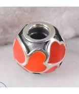 PANDORA Sterling Silver Charm Bracelet Red Enamel Hearts Bead 4.5g - $25.00