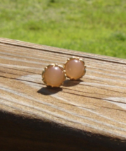 Pink Moonglow Round Cabochon Filigree Post Earrings - $10.00