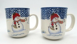 Snowman with Ice Skates Set of 2 Thomson Pottery Coffee Hot Cocoa Cups Mugs - $14.84