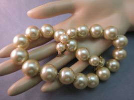 VTG Monet Big Pearl Necklace Hand Knotted Sable Cream Lobster 16mm Glass Beads image 6