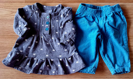 Girl's Size NB Newborn Two Piece Carter's Gray L/S Bow Top & Blue Cordur... - $15.00