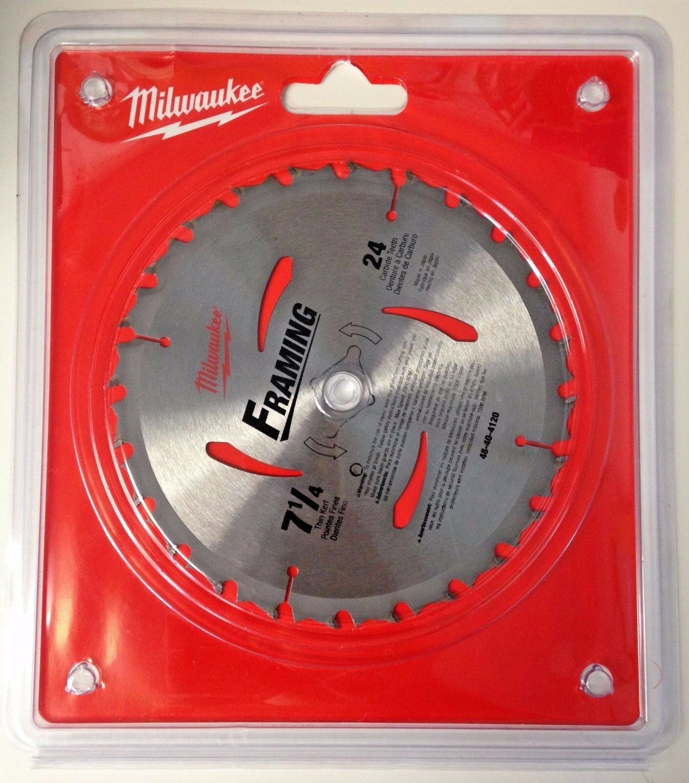 "Primary image for Milwaukee 48-40-4120 7-1/4"" x 24 Carbide Tooth Framing Circular Saw Blade Japan"