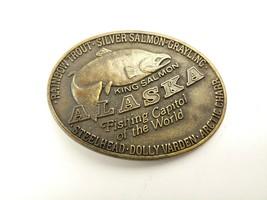 VTG Steelhead Dolly Varden Arctic Charter Fishing Brass Belt Buckle  - $21.77
