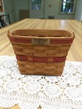 Longaberger 1989 Christmas Collection Holiday Memory Basket Hinged Wood Handle - $9.99