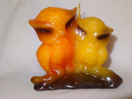 Vintage Owl Molded Candle Orange Yellow Out of the Ordinary Chicago IL U... - $15.45