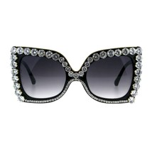 Fancy Rhinestone Sunglasses Womens Oversized Square Butterfly Shades - $14.35