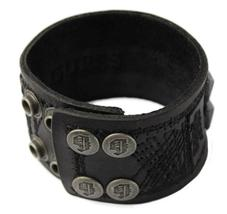NEW NWT GUESS MEN'S CLASSIC STUDDED CUFF WRISTBAND BRACELET BLACK 102227 image 3