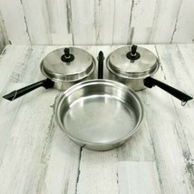 3 VTG Gourmet Living 18-8 3 Ply Stainless Steel Pans Pots Frying Sauce P... - $38.79