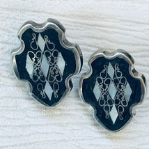 Vintage Mexico Sterling Silver Signed Onyx & Mother of Pearl Inlaid Cres... - $23.23