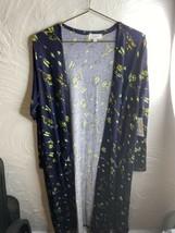NWT Lularoe Sarah Navy Blue Feather Arrows Cardigan Large Duster Sweater - $23.36