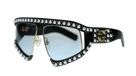 Gucci Women's Sunglasses GG0234S 001 Black Light Blue Lens Authentic 63mm - $484.03