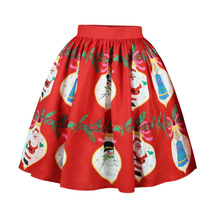 RED Christmas Print  A-line Swing Skirt Women High Waist Knee Length Flare Skirt image 4