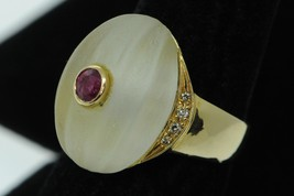 Contemporary (ca. 1980) 18K Yellow Gold Ruby & Crystal Ring w/ Diamonds ... - $650.00