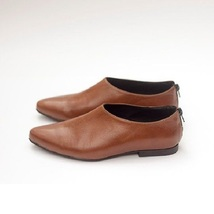Sepia Brown Plain Toe Zipper Closure Heel Counter Premium Leather Women Shoes - $109.99 - $159.99