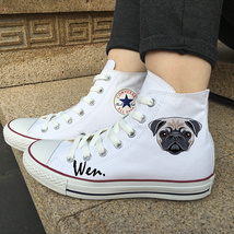 Canvas Shoes Chuck Sneakers Pet Dog Pug Original Design White Converse A... - $119.00