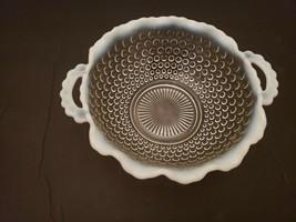 "Vintage Fenton Hobnail Opalescent Scalloped Handled Dish Bowl 2.25"" x  6.5"" - $10.77"
