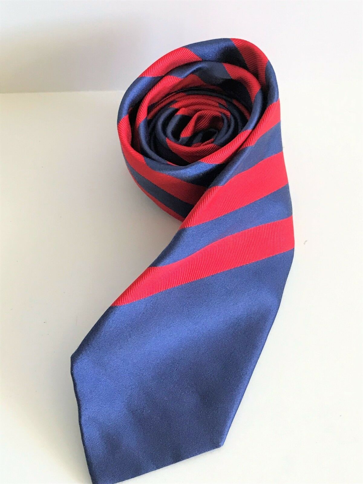 Kenneth Cole Reaction Men's Striped Blue & Red Silk Necktie image 2