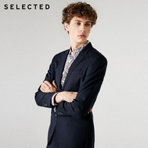 "SELECTED Men""s 100% Wool Closure Collar Slim Fit Blazer S