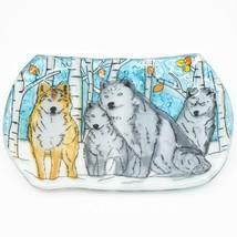 Fused Art Glass Winter Aspen Wolf Pack Design Oval Soap Dish Handmade in Ecuador