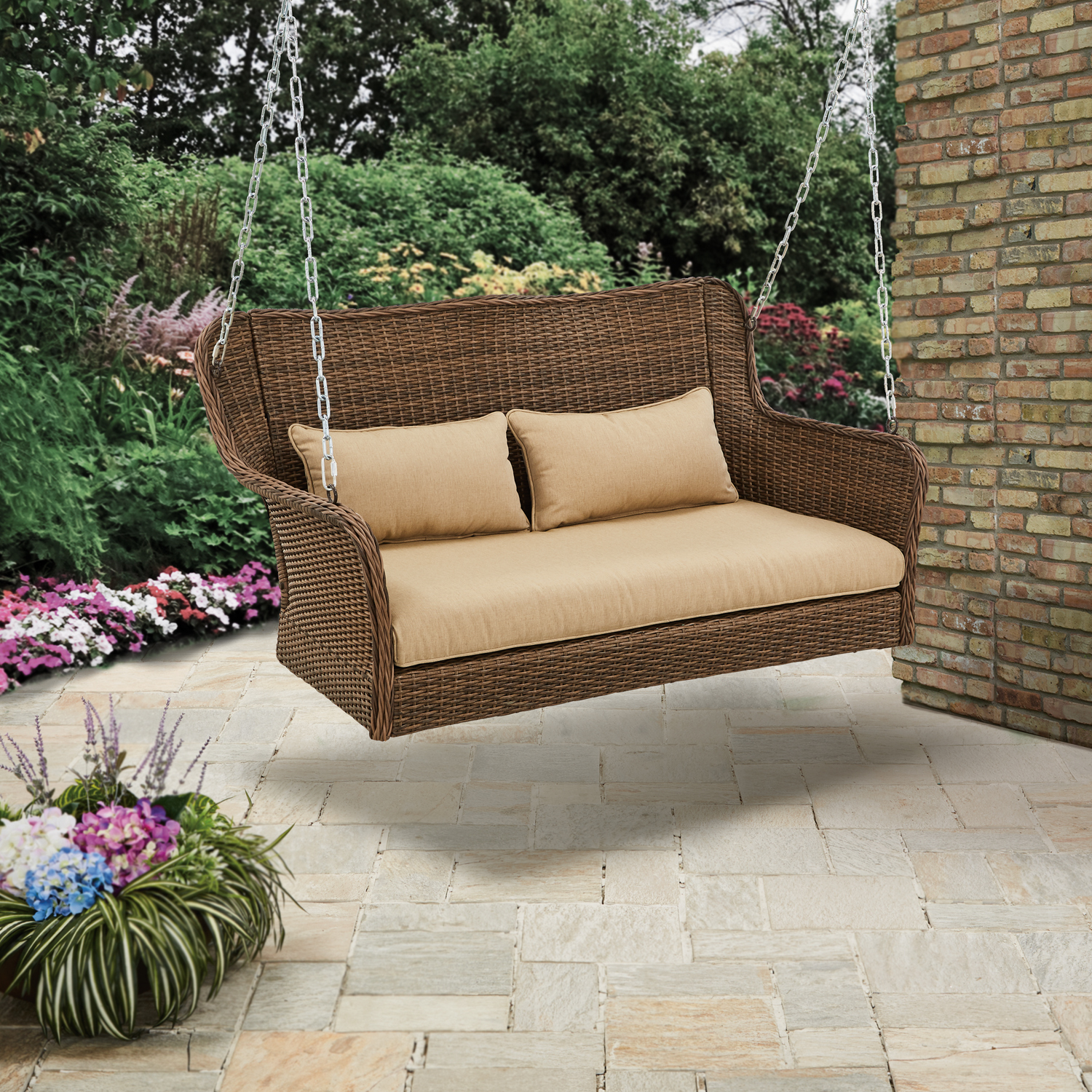 Wicker Outdoor Porch Swing with Cushions Color: Light Brown