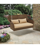 Wicker Outdoor Porch Swing with Cushions Color: Light Brown - $250.00