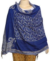 Versatile Indian Jacquard Women's Scarf/Shawl/Sarong Navy Blue - $19.79