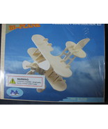 Woodcraft Bi-Plane Construction Kit 3-D Wood Model P002 New Sealed - $7.95
