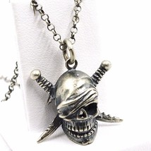 Necklace and Pendant, 925 Silver, Burnished Satin, Pirate Skull, Chain R... - $116.35